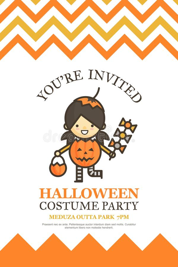Pumpkin Girl Halloween Invitation Card For Costume Night Party C ...