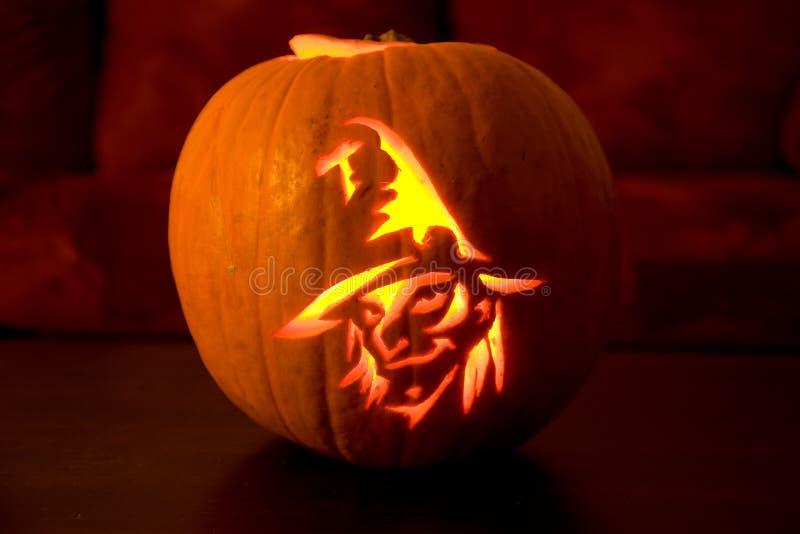 Pumpkin glowing at night royalty free stock image