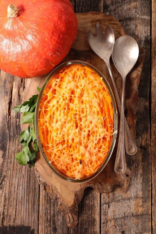 Pumpkin gratin stock images