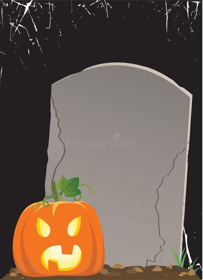 Pumpkin on the grave stock illustration