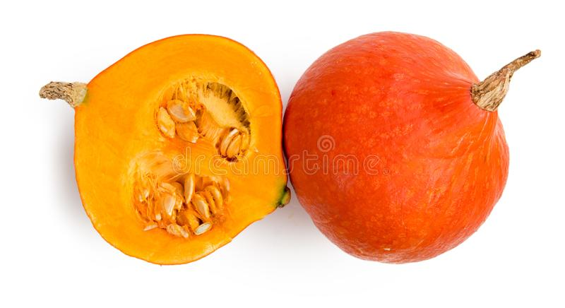 Pumpkin group and slice isolated royalty free stock photo