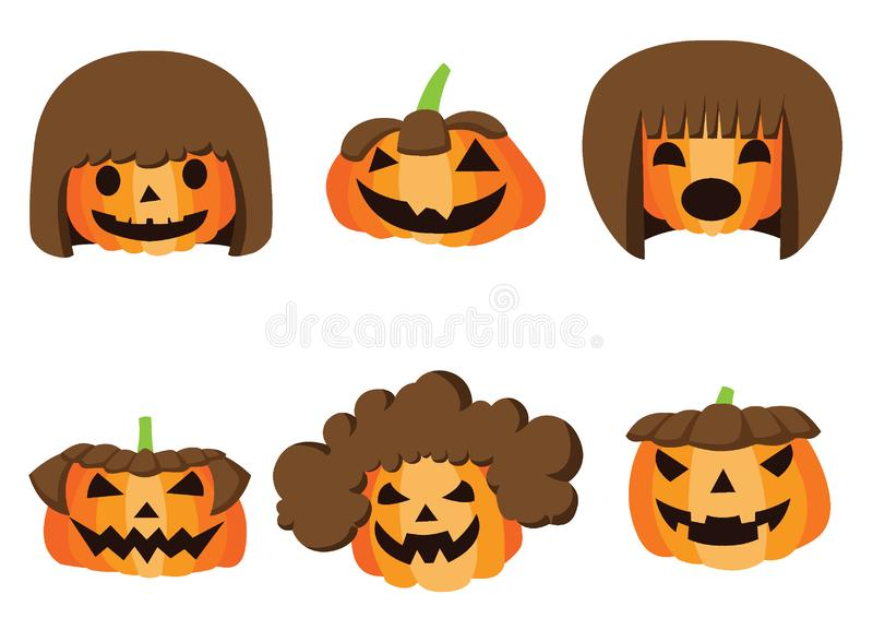 Pumpkin hairstyle Halloween design on white background illustration vector royalty free illustration
