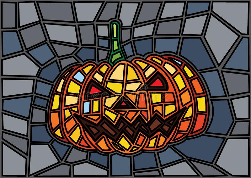 Pumpkin Halloween Stained glass background stock illustration