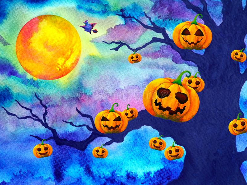 Pumpkin Halloween Night Background Full Moon Watercolor Painting Illustration Design Hand Drawing Stock Photo - Image of evil, horror: 160633820