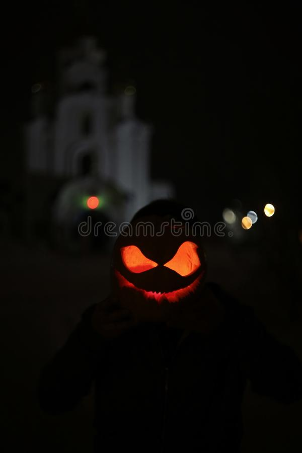 Pumpkin for Halloween night Jack-O-Lantern Evil Scary stock images