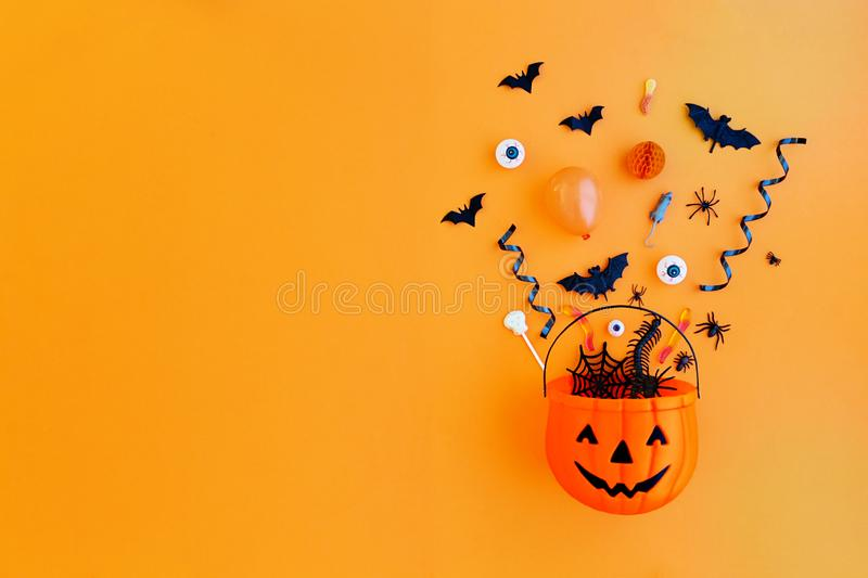 Pumpkin with Halloween objects royalty free stock photography