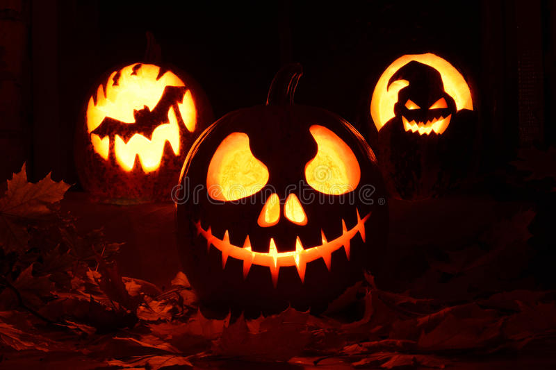 Pumpkin halloween. Photo pumpkins on a table with leaves royalty free stock photography