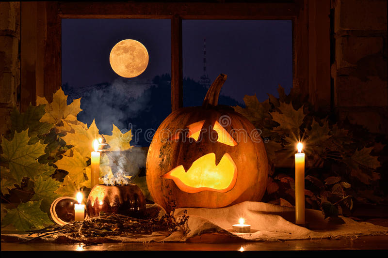 Pumpkin halloween. Photo pumpkins on a table with leaves royalty free stock photos