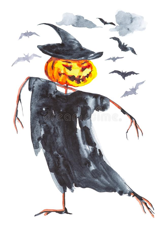 Pumpkin with hands of branches ,in a black cap and cloak dancing on Halloween. Bats fly over it.Watercolor illustration isolated. On white background royalty free illustration