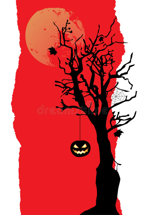 The pumpkin is hanging on the tree. Halloween banner stock illustration