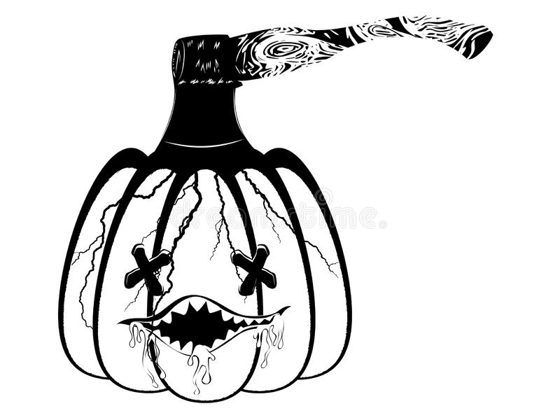 Pumpkin and hatchet. Cracked cartoon pumpkin and hatchet halloween illustration stock illustration