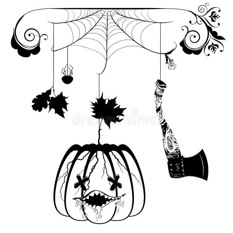 Pumpkin and hatchet. Cracked cartoon pumpkin and hatchet halloween illustration royalty free illustration