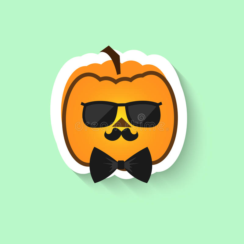 Pumpkin hipster in sunglasses and bow tie royalty free stock photography