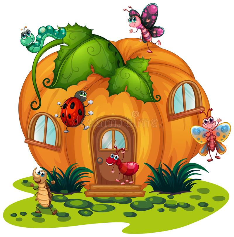 Free Pumpkin House With Many Bugs Stock Photos - 99294693