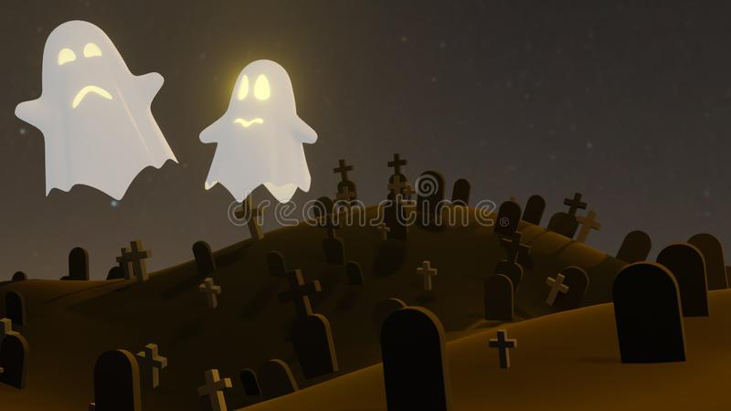 Pumpkin Jack O Lanterns Ghost and a witch In the cemetery on Halloween for background or orther . 3D Rendering stock illustration