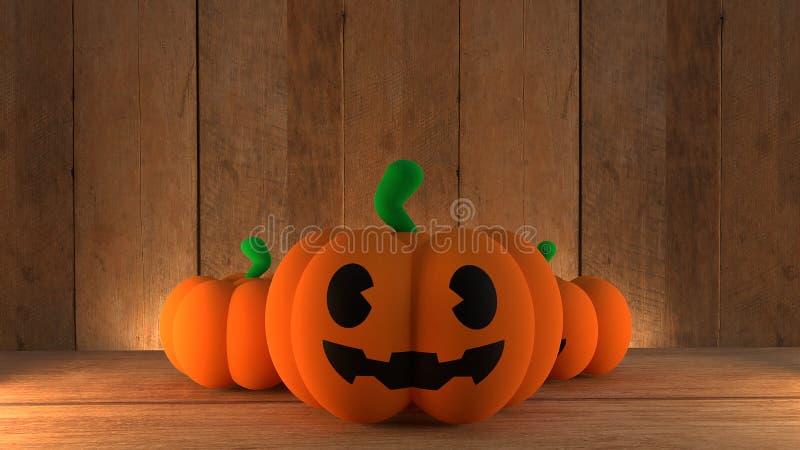 Pumpkin jack on wood background for halloween concept 3d rendering vector illustration