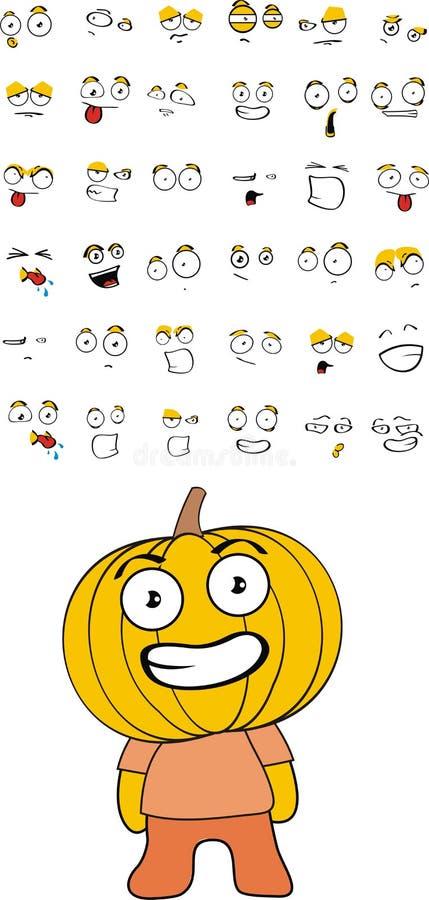 Pumpkin kid cartoon set
