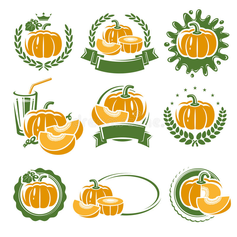 Pumpkin labels and elements set. Vector stock illustration