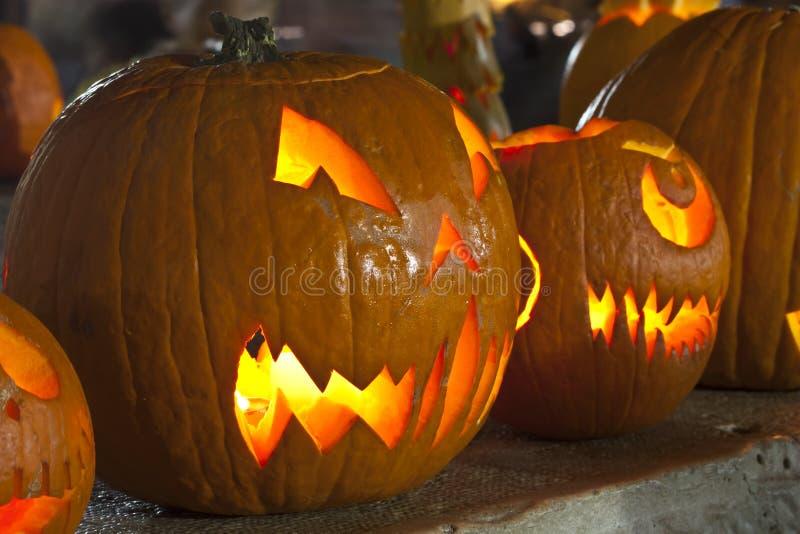 Pumpkin lamps stock photos