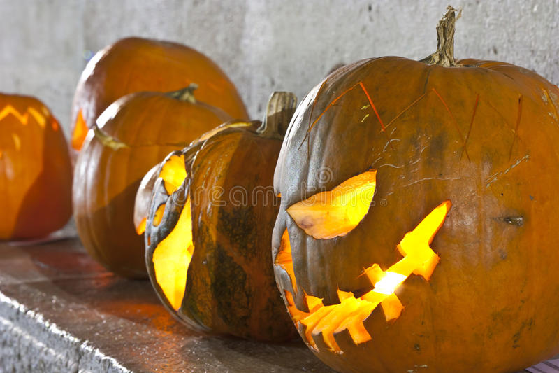 Pumpkin lamps stock photo