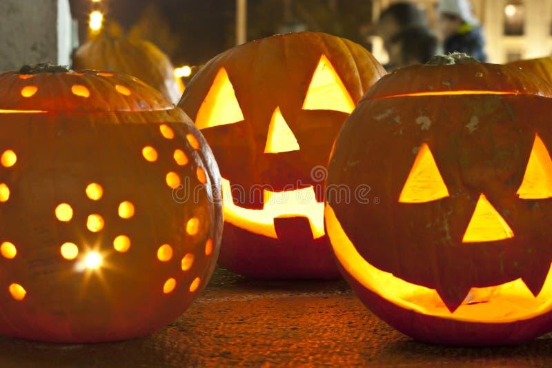 Pumpkin lamps stock image