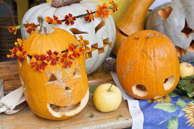 Pumpkin lamps royalty free stock images