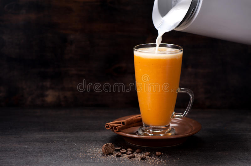 Download Pumpkin latte smoothie stock photo. Image of halloween - 83703018
