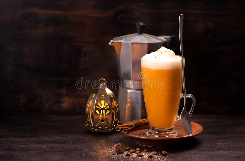 Download Pumpkin latte smoothie stock photo. Image of cream, mulled - 83702528