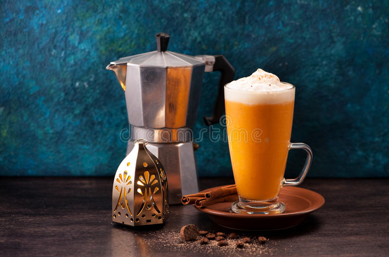 Download Pumpkin latte smoothie stock image. Image of mulled, mousse - 83703029
