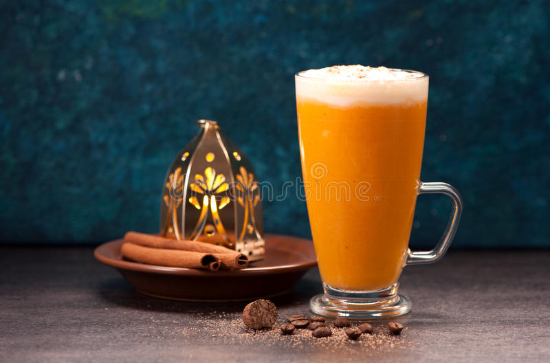 Download Pumpkin Latte Smoothies With Spices Stock Image - Image: 83702251