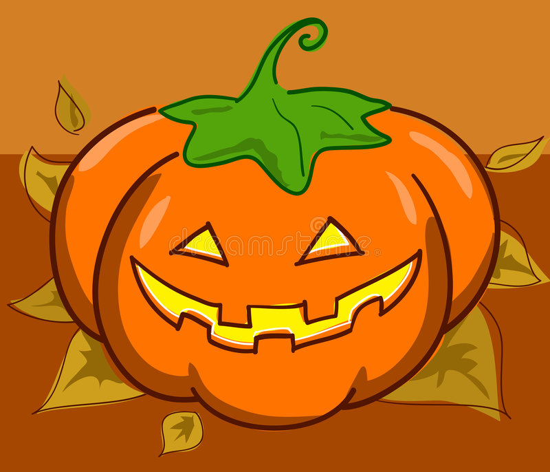 Jack o' Lantern and leaves. Halloween pumpkin on dead leaves. Vector illustration vector illustration