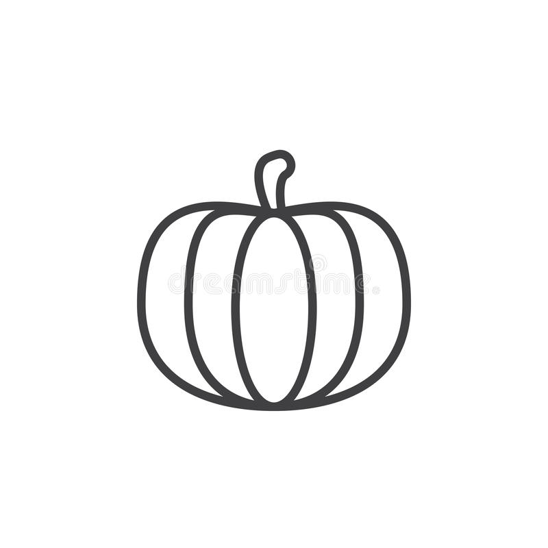 Pumpkin line icon, outline vector sign, linear pictogram isolated on white. stock illustration