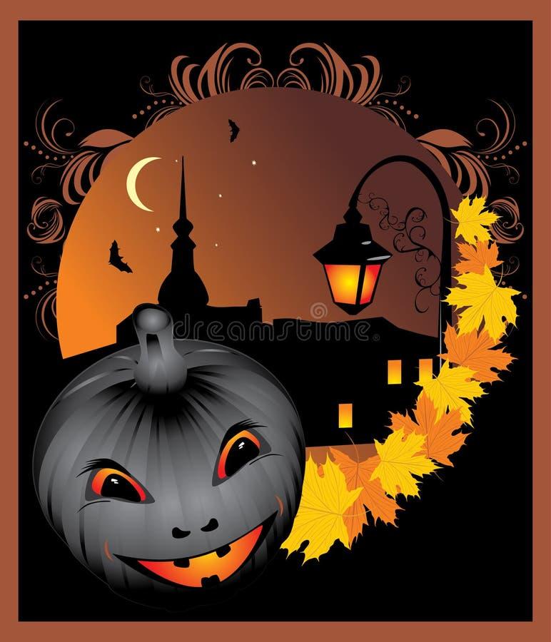 Pumpkin and maple leaves. Halloween stock illustration