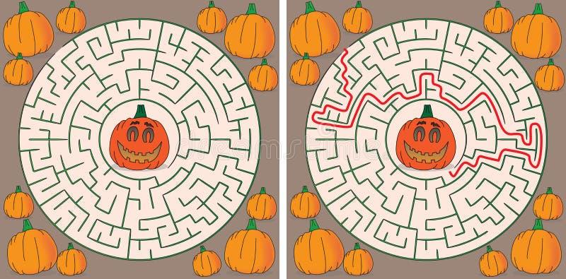 Pumpkin maze vector illustration