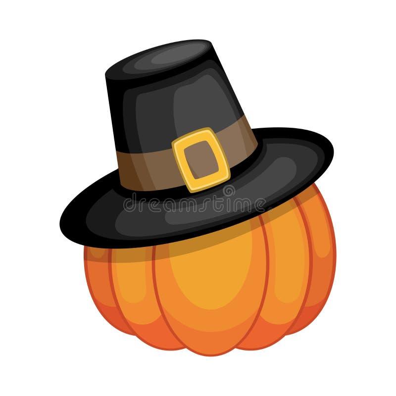 Pumpkin med pilgrimshatt royaltyfri illustrationer