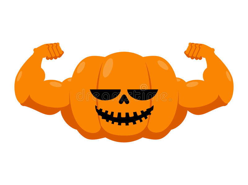 Pumpkin with muscles. Fitness Halloween. Vegetable with large ha. Nds. Powerful Fruit bodybuilding. Vegetarian athlete. Strong Symbol for terrible holiday stock illustration