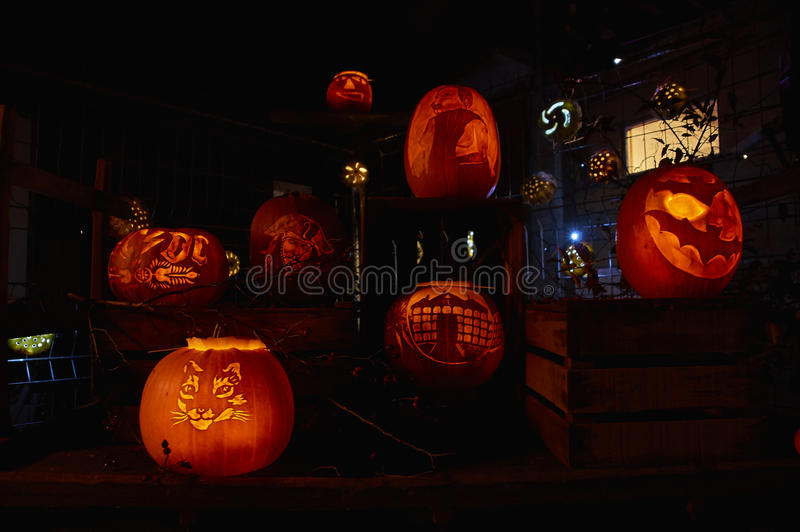 Pumpkin night party. In Switzerland village Rudolfingen, near Zurich. People make different pictures on pumpkins. This Party is an alternative to the Helloween royalty free stock photos