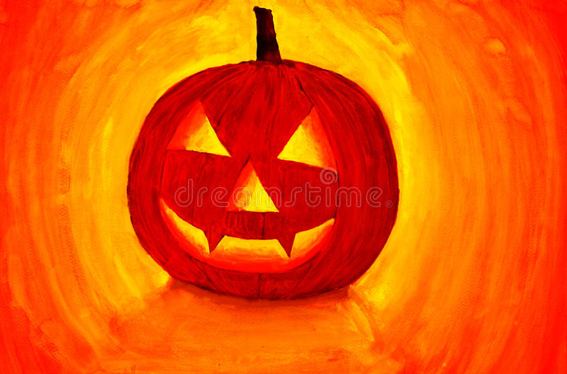 Pumpkin painting. royalty free stock photography