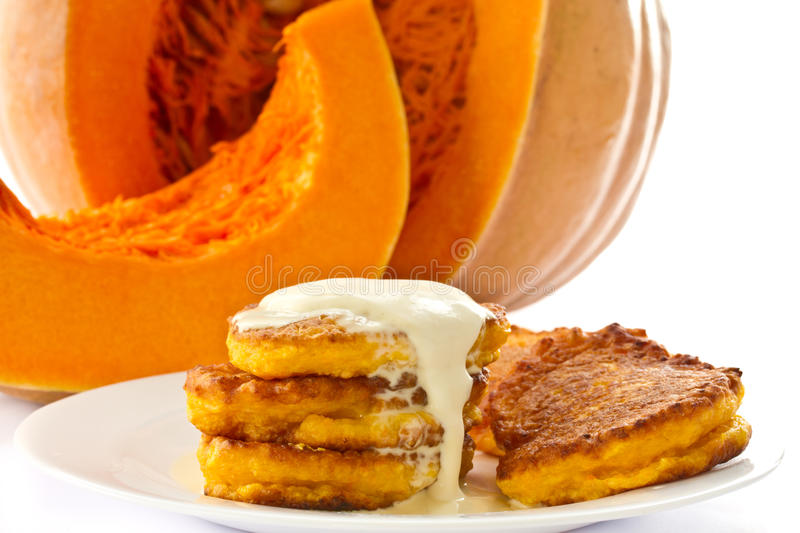 Download Pumpkin Pancakes With Sour Cream Stock Image - Image: 26449255
