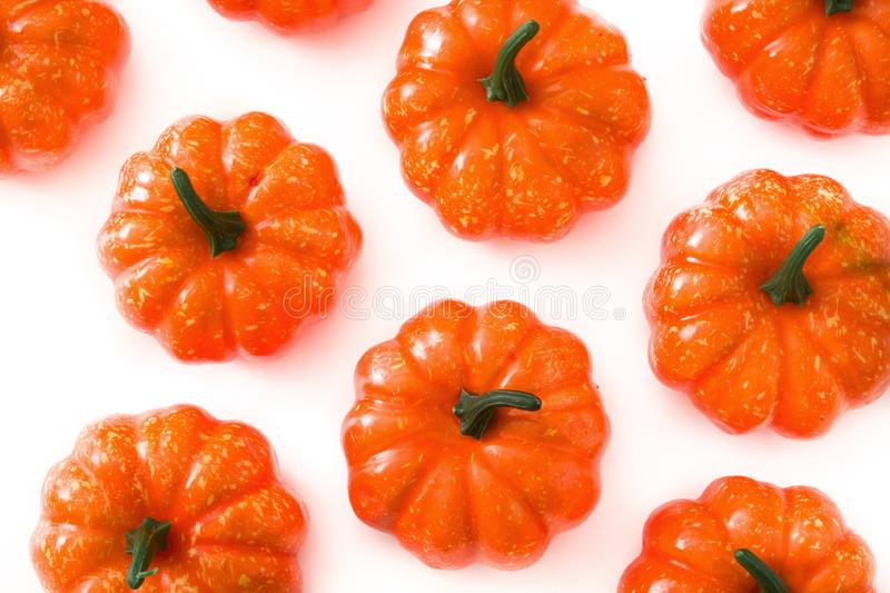 Pumpkin pattern isolated on white background. Top view stock images