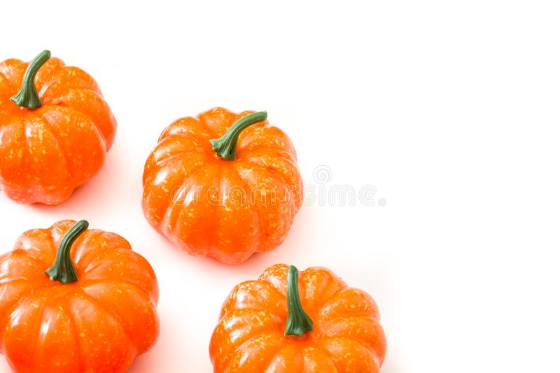 Pumpkin pattern isolated on white background. Top view. Copyspace royalty free stock photography