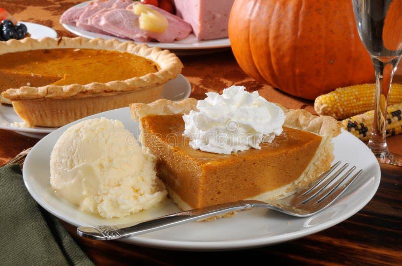 Pumpkin pie alamode stock photo