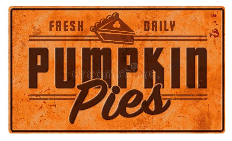 Pumpkin Pie Art Sign Advertisement Vintage Retro Tin Metal stock photography