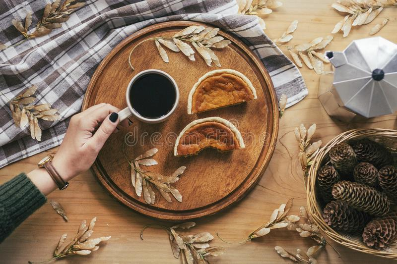 Pumpkin pie and female hand holding a cup of black tea. Decorated with the tablecloth and pine cones and dried autumn leaves. stock image