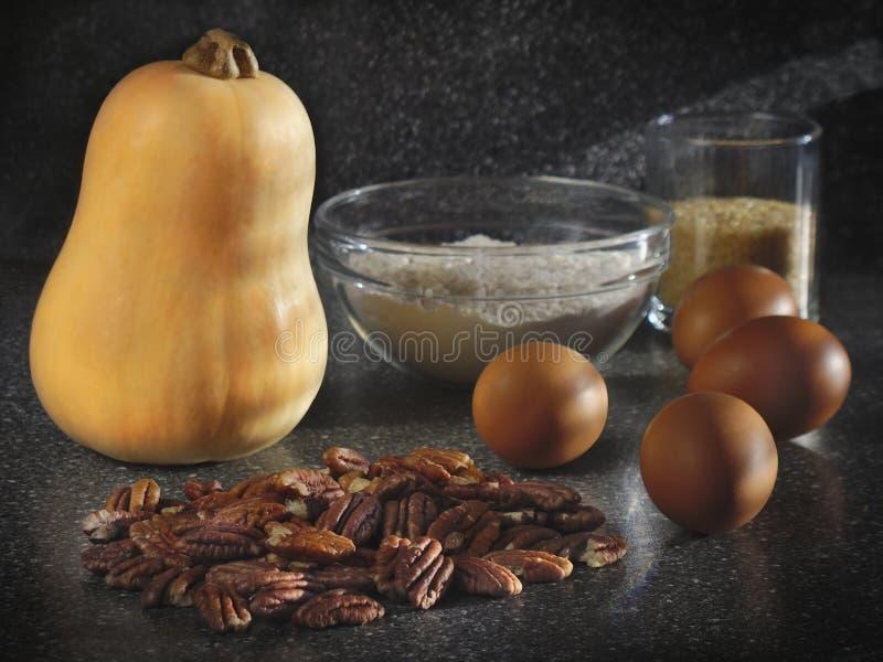 Pumpkin pie ingredients royalty free stock photo