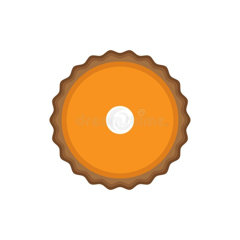 Pumpkin pie with whipped cream top view royalty free illustration
