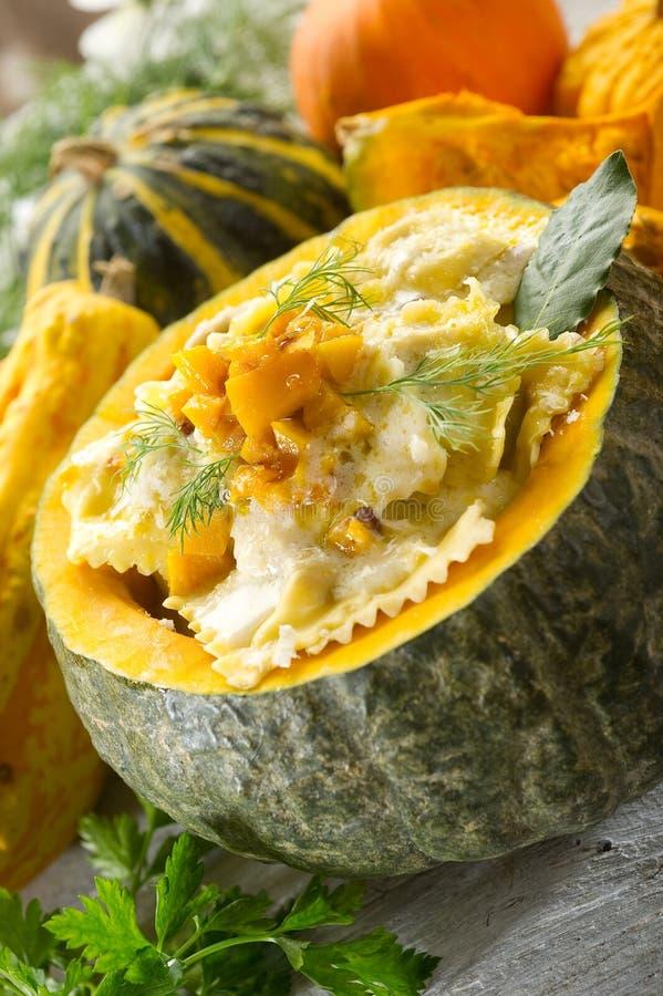 Pumpkin ravioli stock photo
