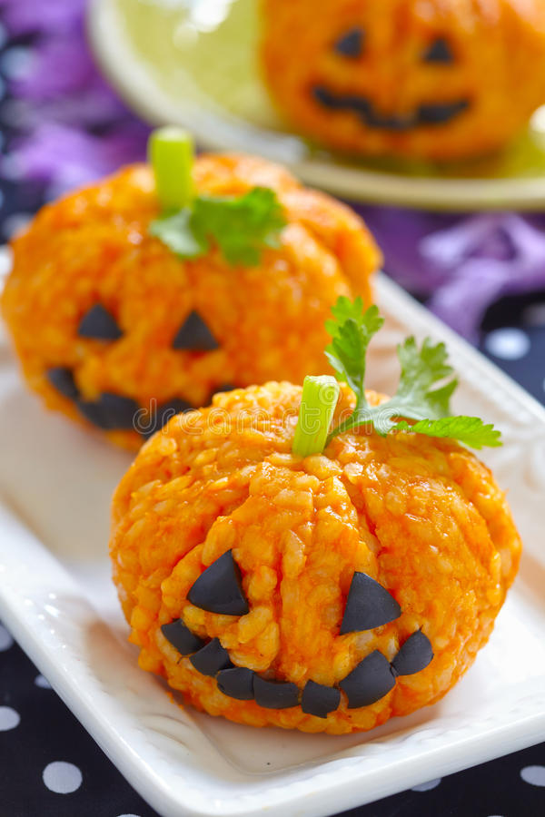 Free Pumpkin Rice Ball Jack O Lanterns Royalty Free Stock Images - 57501139