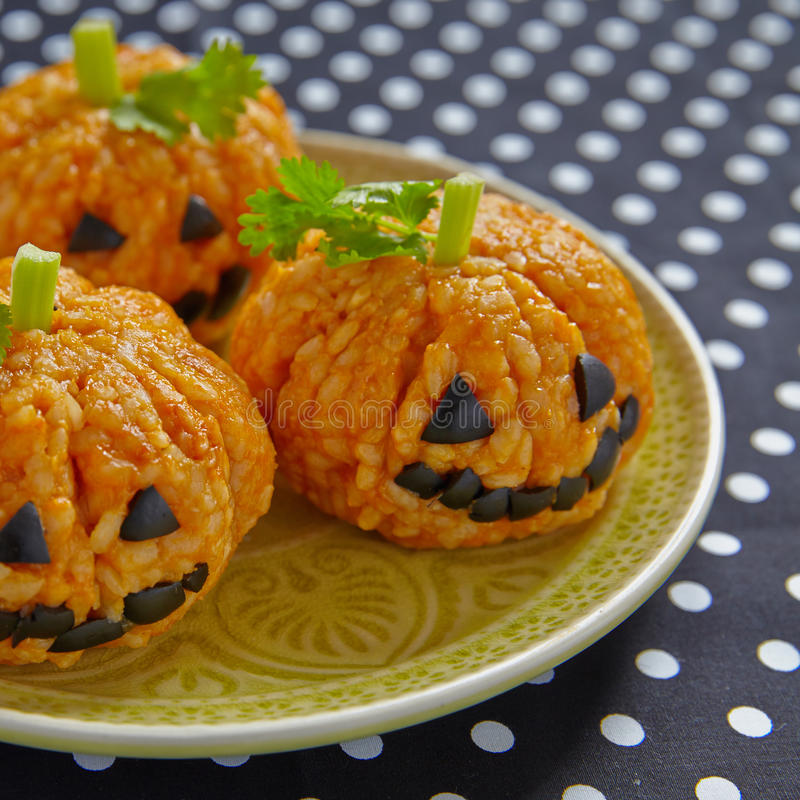 Free Pumpkin Rice Ball Jack O Lanterns Royalty Free Stock Image - 58087156