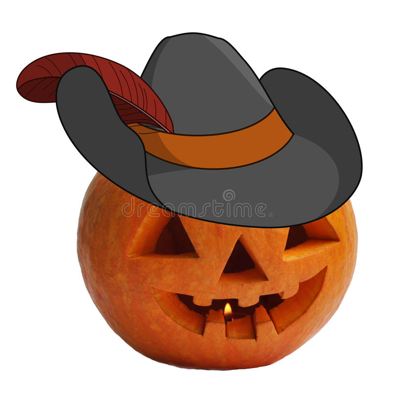 Download Pumpkin in a robbers hat stock illustration. Image of hatband - 14903903